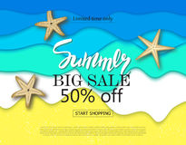 Summer big sale banner with cut paper waves and starfish. Vector illustration eps 10 format. Vector illustration Royalty Free Stock Photography