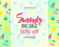 Summer big sale banner. Cute background with watermelon, pineapple, cherry and orange. Royalty Free Stock Image