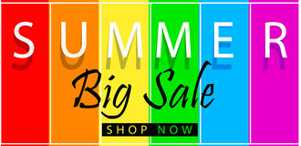 Summer big sale banner on spectrum colorfull background. Vector template design. Summer big sale banner on spectrum colorfull background. Vector illustration Royalty Free Stock Photo