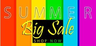 Summer big sale banner on spectrum colorfull background. Vector template design. Summer big sale banner on spectrum colorfull background. Vector illustration Stock Photography
