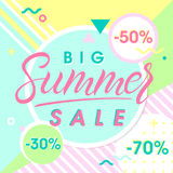 Summer big sale banner. Hand drawn lettering summer with geometric elements in memphis style.Sale season card perfect for prints, flyers,banners, promotion Stock Images