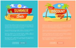 Summer Big Sale Best Discount 30 Off Online Pages. Posters with tropical beach, palm trees at coastline, best prices at summertime, sale concept vector Stock Images