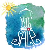 Summer Big Sale lettering.Dress,watercolor sun Stock Photo