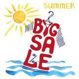 Summer big Sale lettering.Tee Shirt,watercolor sun Stock Images