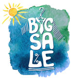 Summer Big Sale lettering.Tee sirt,watercolor sun Royalty Free Stock Images