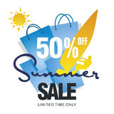 Summer big sale 50 percent off windsurf board sun card blue background vector. Summer big sale bag 50 percent off discount offer windsurf board sun card blue vector illustration