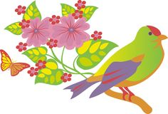 Summer bird. From the summer of colored butterflies, flowers and bird graphic royalty free illustration