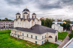 Summer Birds Eye View Of Yaroslav Courtyard - St Nicholas Cathedral And St Procopius Church, Veliky Novgorod, Russia. Royalty Free Stock Photo