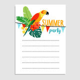 Summer birthday party greeting card, invitation. Parrot bird, palm leaves, hibiscus flowers. Paper flags decoration. Tropical jungle design. Web banner. vector Royalty Free Stock Images