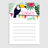 Summer birthday party greeting card, invitation. Toucan bird, palm leaves, hibiscus flower,. Summer birthday party greeting card, invitation. Toucan bird, palm Royalty Free Stock Photos