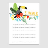 Summer birthday party greeting card, invitation. Toucan bird, palm leaves, hibiscus flowers. Paper flags decoration. Web. Banner, background, stock vector Stock Photo