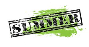 Summer black and green  stamp. Isolated on white background Stock Photography