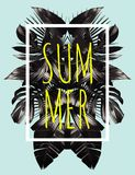 Summer black leaves mirror illustration. Illustration word slogan summer in a square white frame. The trendy tropic style. The art vector black mirror palm leaf royalty free illustration