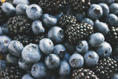Summer blackberries and blueberries close up Royalty Free Stock Image