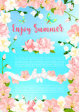 Summer blooming flowers vector greeting poster. Enjoy Summer poster of flourish frame of blooming orchid flowers and blossoms in pink flourish ribbon. Vector Stock Images