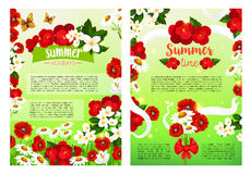 Summer blooming flowers vector holiday poster. Summer Holidays posters set of flourish flowers and blooming red begonia or daisy and jasmine blossoms in white Royalty Free Stock Images