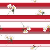 Summer blooming meadow flowers on resort stripe seamless pattern. Vector fot fashion fabric and all prints wallpaper ,book cover,on trendy red line color royalty free illustration