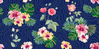 Summer blossom. Seamless vector pattern with roses, tropical flowers and foliage royalty free illustration