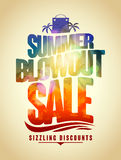 Summer blowout sale text design with tropical backdrop Stock Photography