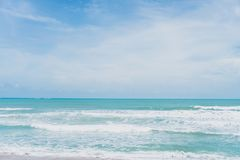 Summer blue beach and sand . royalty free stock photo