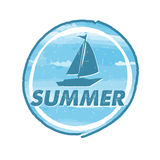 Summer with blue boat, grunge drawn circle label Stock Photography