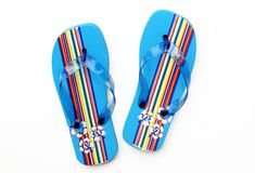 Summer Blue Flip Flop Sandals Royalty Free Stock Images