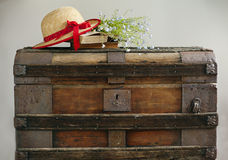 Summer blue flowers, old books and straw hat on vintage chest Stock Image