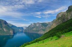 Summer blue sky Aurlandsfjord, part of Sognefjord Stock Images