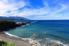Summer blue sky sea,Taidung,Taiwan. The sea near by the famous scenery Shiauyeliou and Sansiantai,taitung,Taiwan royalty free stock photos