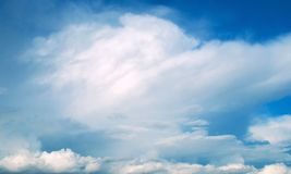 Summer blue sky with white clouds Stock Photos