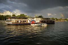 A summer boat trip along the Moscow river. Pleasure boat, boat trips, cruising on the river, a Summer walk along the Moscow river Royalty Free Stock Photography