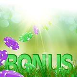 Summer bonus in green grass and casino chips Royalty Free Stock Photos