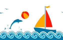 Summer border. Seamless border with fish playing with beach ball and sailboat floating on the sea Stock Photography
