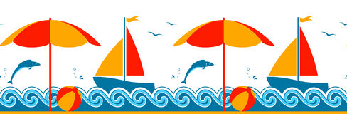 Summer border. Seamless border with beach umbrella and sailboat floating on the sea Stock Image
