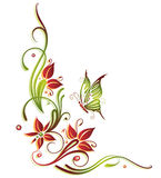 Summer, border. Colorful summer flowers with butterfly, green and red Stock Photography