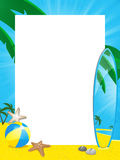 Summer border and surfboard Royalty Free Stock Photo