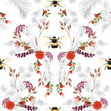 Summer botanical blooming garden flowers unfinished line drawing with stylish bees seamless pattern vector design for fashion,. Fabric,wallpaper,and all prints royalty free illustration