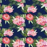 Summer botanical print with green tropical leaves and flowers on navy blue background. Hawaiian exotic plants seamless pattern. Summer tropical leaves and pink vector illustration
