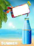 Summer bottle background with speech bubble Stock Image