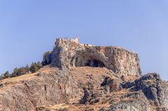 Summer bottom cliff view Acropolis of Lindos of Rhodes Stock Photography