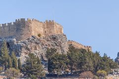 Summer bottom cliff view Acropolis of Lindos of Rhodes Stock Image