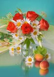 Summer bouquet. Bouquet of red roses end daisy Stock Photography