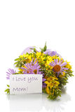 Summer bouquet of daisies and loosestrife Stock Images