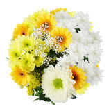 Summer bouquet of flowers top view. Fresh summer bouquet of flowers top view isolated on white background Stock Photography