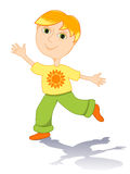 Summer boy. Cartoon boy in a t-shirt with sun. Isolated on white Royalty Free Stock Images