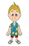 Summer boy cartoon stock illustration