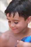 Summer Boy, Eyes Downcast Royalty Free Stock Photography