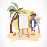 Summer boy and paperboard on the beach with sunset -  Royalty Free Stock Photo