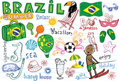 Summer in Brazil doodles collection Royalty Free Stock Images