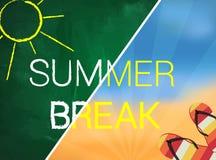 Summer break  with blackboard and sea Royalty Free Stock Photo